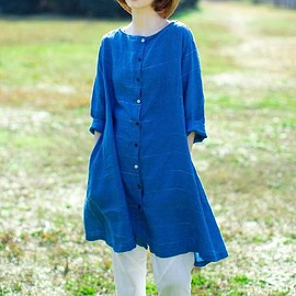 top - Women's blue long shirt, Loose single breasted gown, casual pockets shirt