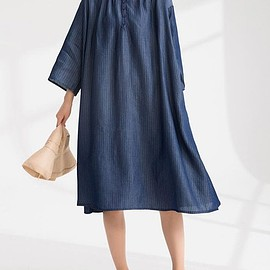 Oversized long dress - Maxi dress in dark blue, Shirt collar dress, Oversized long dress, Cotton dress Women