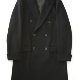 bal - Double Brested Dobby Wool Overcoat (black)