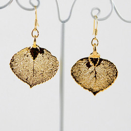 MaryMorrisJewelry - Gold Dipped Aspen Leaf Dangle Earrings, 24K Gold Electroplated Leaf Earrings