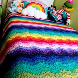 dreamy rainbow crochet blanket