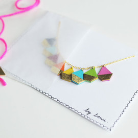 BenuShop - Handmade leather boats charm necklace in rainbow