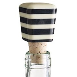 Pier 1 Imports - Black & White Striped Bottle Stopper