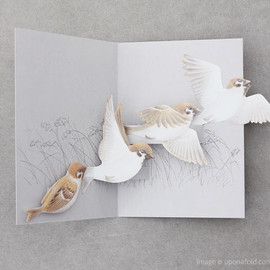 upon a fold - Tobidustry Tree Sparrow Pop-up Card