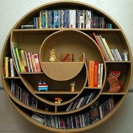 circular bookcase made from cardboard!