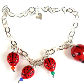 Luulla - Lady bug charm Bracelet Sterling Silver chain, ladybug Glass bump beads. Me and MyLadies. Mother's Day gift for her under 15 Spring 2012