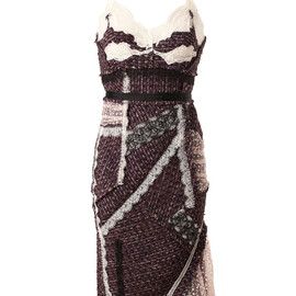 NINA RICCI - TWEED AND LACE PATCHWORK DRESS