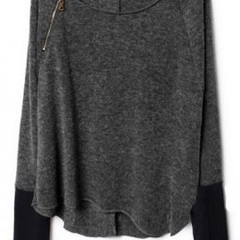 Dark Grey Zippered Curved Hem Jumper pictures