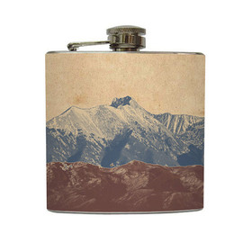 Tyler and Amy Fisk - Mountain Landscape Whiskey Flask Traveler Camping Hiking Gift Stainless Steel 8 oz or 6 oz Liquor Hip Flask