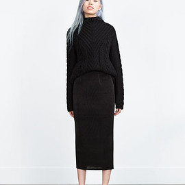 ZARA - TRF PLEATED MIDI SKIRT