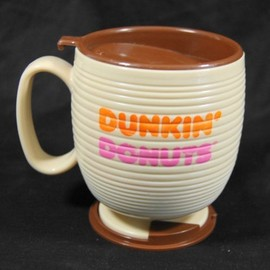 Old School The Big One Dunkin Donuts Coffee Mug Two Toned Brown Lettering