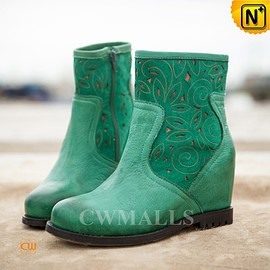 cwmalls - Womens Green Ankle Boots CW305336 - cwmalls.com