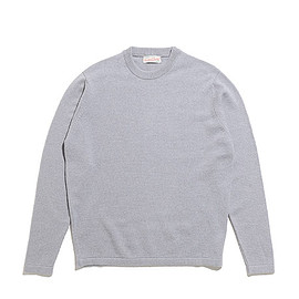 Scott&Charters - Crew Neck Welted 2ply-Silver Grey