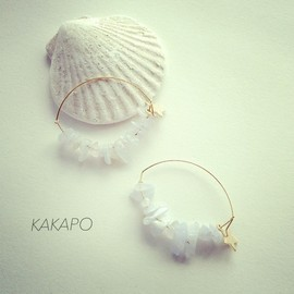 KAKAPO - Light blue stone × star pierce