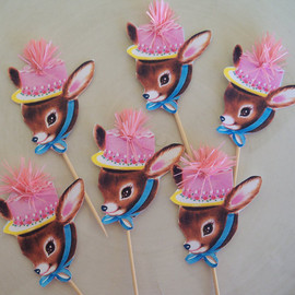 JeanKnee - Vintage Deer Cupcake Toppers With Pink Puff Set of Six for Birthday Party