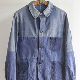"1940s french blue  moleskin jacket ""patch work"""