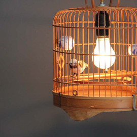 GallivantingGirls - Vintage Bamboo Birdcage Hanging Light with Fabric Cord