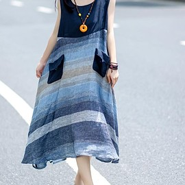 linen summer dress - blue dress, maxi dress, loose linen dress, everyday women clothes, linen summer dress