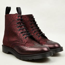 Dr Martens - Men's Cherry Red MIE Calder Paisley Silk Boots