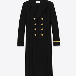 SAINT LAURENT - CLASSIC 70'S MILITARY COAT IN BLACK WOOL AND NYLON