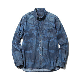 SOPHNET. - CAMOUFLAGE DENIM B.D SHIRT (BIO WASHED)