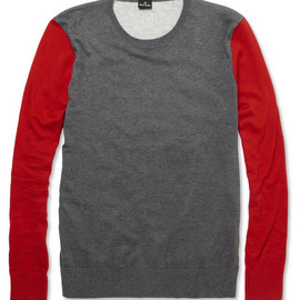 PS by Paul Smith - PS by Paul SmithContrast-Sleeve Knitted Cotton Sweater