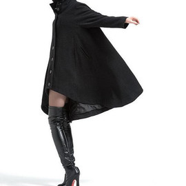 etsy - Black single breasted wool coat cloak outerwear asymmetry wool Overcoat Swallowtail winter coat