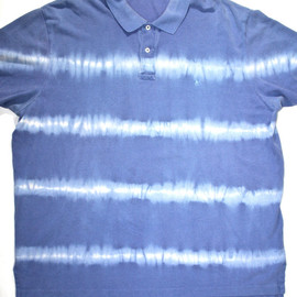 POLO RALPH LAUREN - Vintage Polo by Ralph Lauren Blue Bleach Striped Polo Short Sleeve Shirt Mens Size XXL
