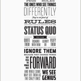 Rob Siltanen and Ken Segall, Steve Jobs - Here's to the Crazy Ones - Letterpress Poster