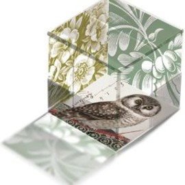 FRINGE STUDIO - Green Transferware Glass Cube Owl Paperweight