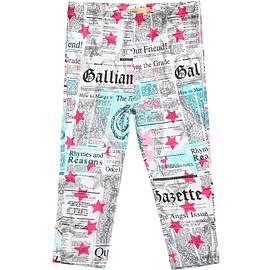 JOHN GALLIANO - Pink Gazette Print Viscose Leggings