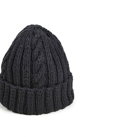 Inverallan - 22F Cable Knit Cap-Black Denim