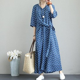 Vintage long dress - Linen maxi dress, pockets dress, Casual Dresses, Vintage long dress, Floor length dress
