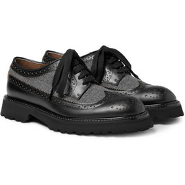 MARNI - MarniFlannel-Panelled Leather Brogues