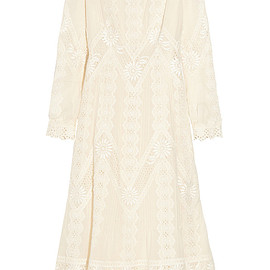 VALENTINO - Resort2015 Lace-paneled cotton-voile dress