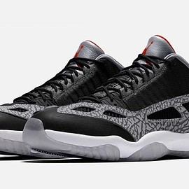 Jordan Brand, NIKE - Air Jordan 11 Low IE - Black/Fire Red/Cement Grey/White