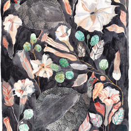"""michelle morin -  """"Guinea Fowl and Night Blooming Datura"""""""