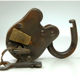 Antique Reproduction Padlock Iron and Brass with 2 Keys