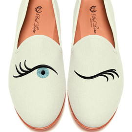 Del Toro - Prince Albert Bone Canvas Slipper Loafers With Winking Eye Embroidery