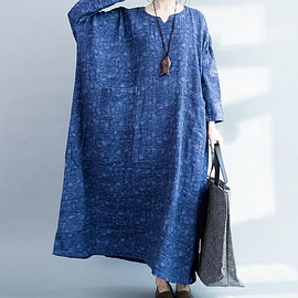 dress - Cotton and linen Loose Fitting Maxi Dress oversized loose blue long dress