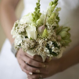 Green and White Wedding Bouquet