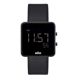 Braun - Sqaure Digital Watch Black Face/Leather Band