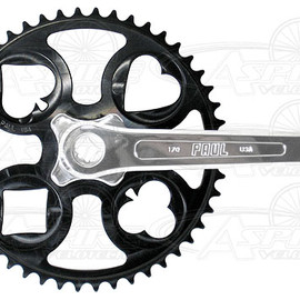 Paul - Paul Royal Flush Crank Set - Black chainring, Sliver chain arm