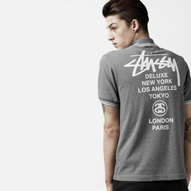 STUSSY, FRED PERRY - BLANK CANVAS 2010: Solid Pique Polo - Grey