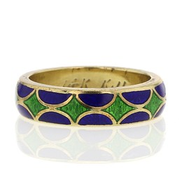 Kenneth Jay Lane - 14K gold enamel rings