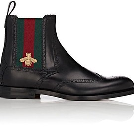 GUCCI - leather wingtip chelsea boots with bee web