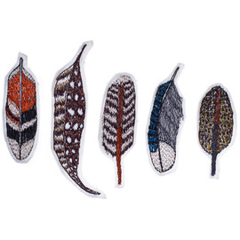 coral and tusk - feather pin set