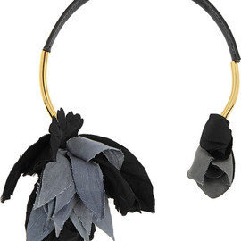 MARNI - Gold-plated, leather and grosgrain necklace