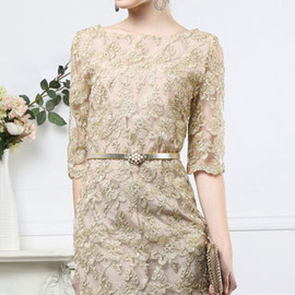 fashion - Image of  [grzxy6601226]Cocktail Ball Half Sleeve Bodycon Lace Embroidery Shift Dress