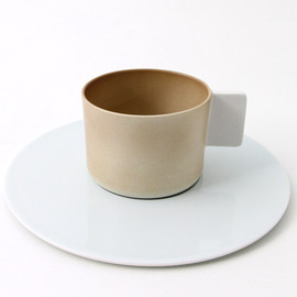1616/arita - SB Coffee Cup / Saucer | light brown/plain white/light blue